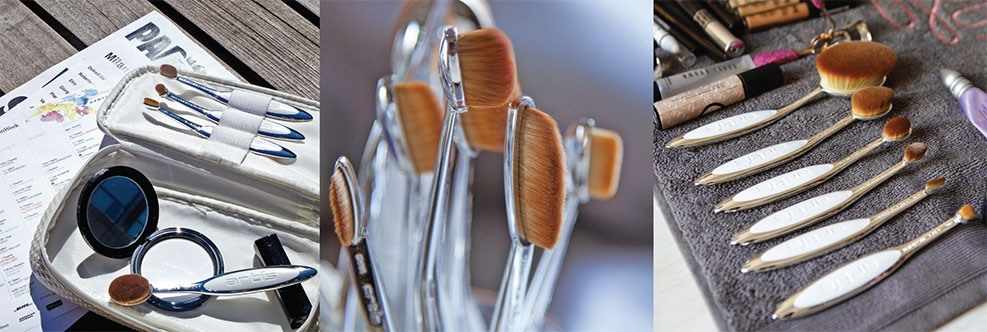 A collage of product images of Artis makeup brushes with various backgrounds.