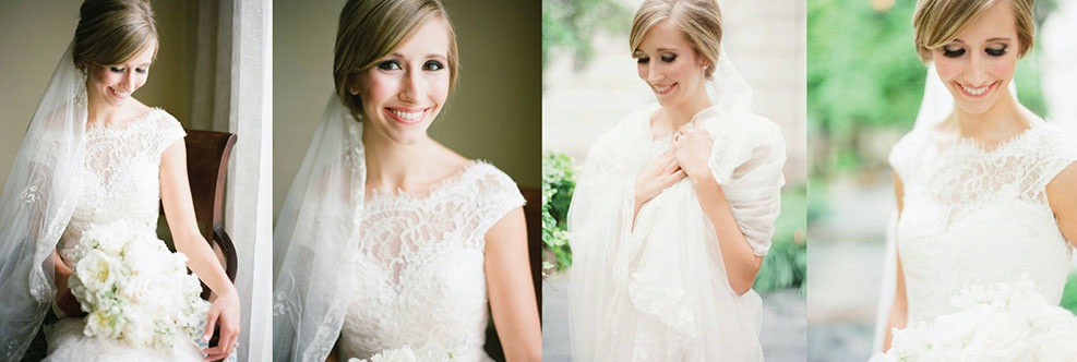Collage of women in their wedding dresses.