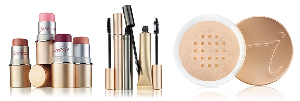 A collage of product images of Jane Iredale Makeup.  Left to right is lipstick, mascara, and foundation.